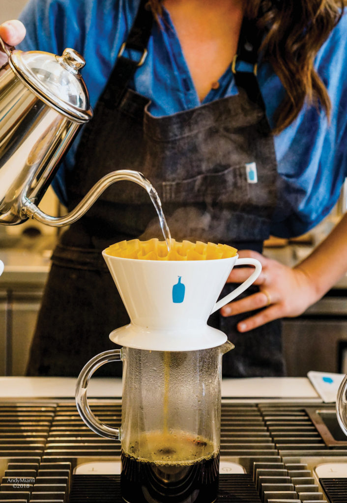 Blue Bottle Coffee (Mami) manager Michelle Hopper makes pourover coffee