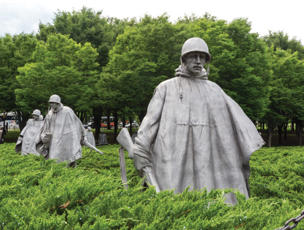 A portion of the Korean War Veterans Memorial on the National Mall