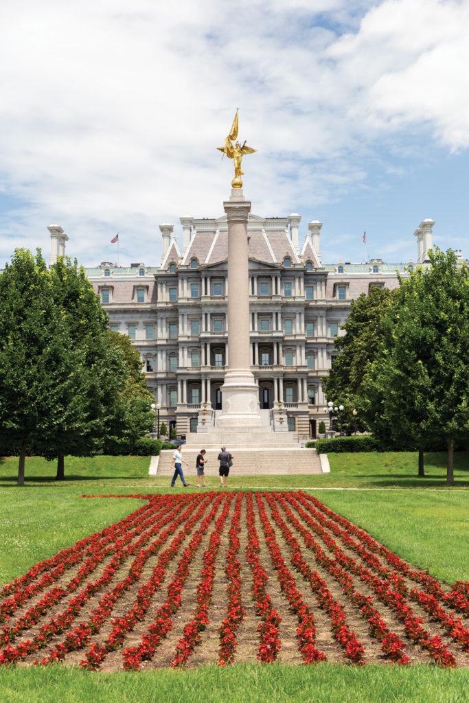 First Infantry Division Monument with the Eisenhower Executive Office Building in the background