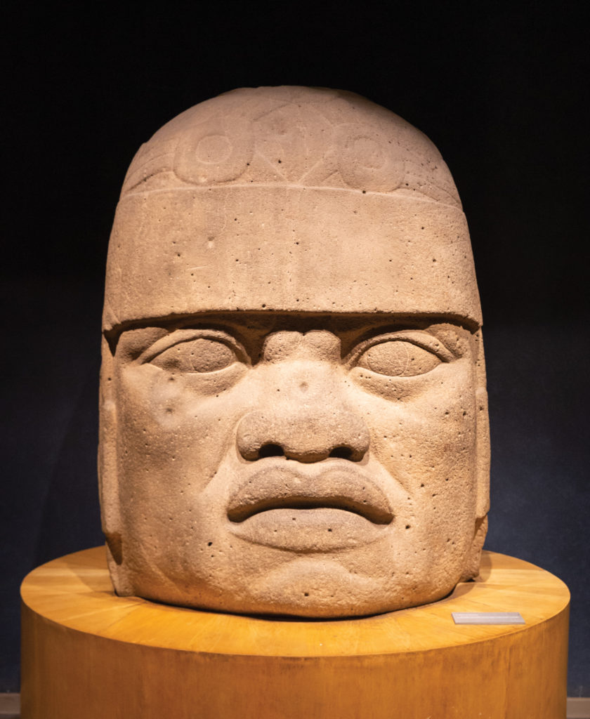 One of the colossal Olmec heads in the anthropology museum's collection