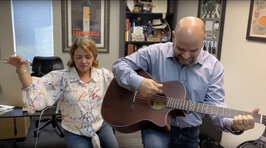 Erik and Jamilet Calviño with Orangewood Guitar