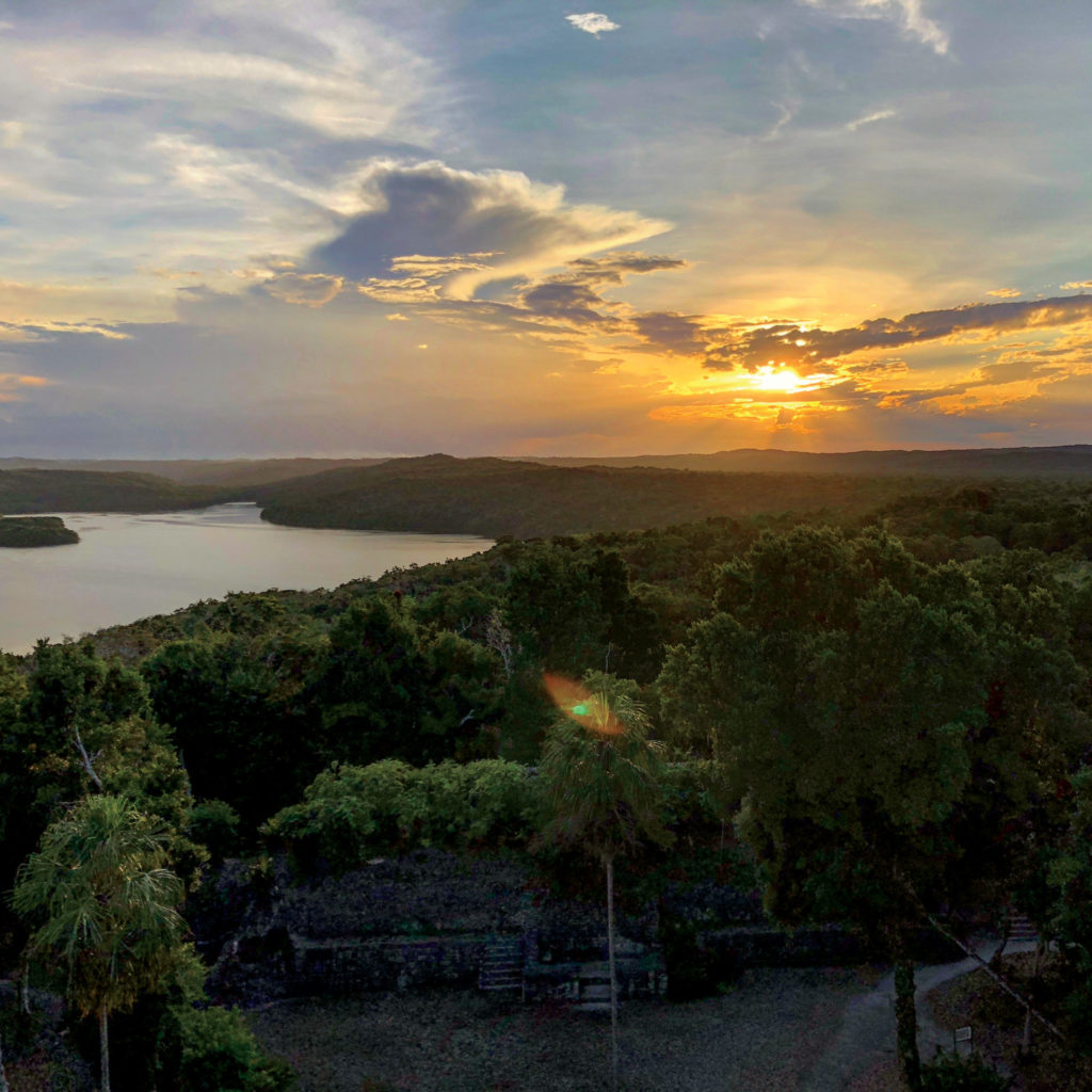 Sunset from atop Temple 216 at Yaxhá National Park
