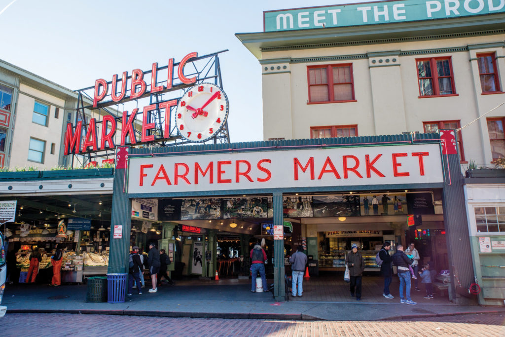 The iconic Public Market Center sign at the south end of Pike Place