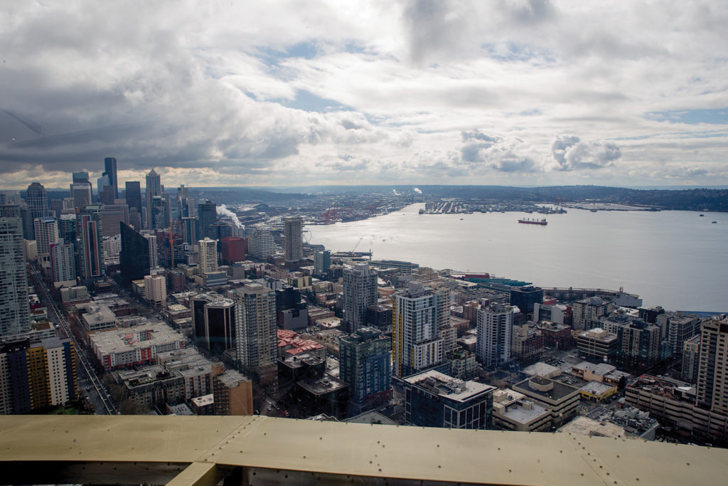 The view of downtown Seattle from the Space Needle's observation deck