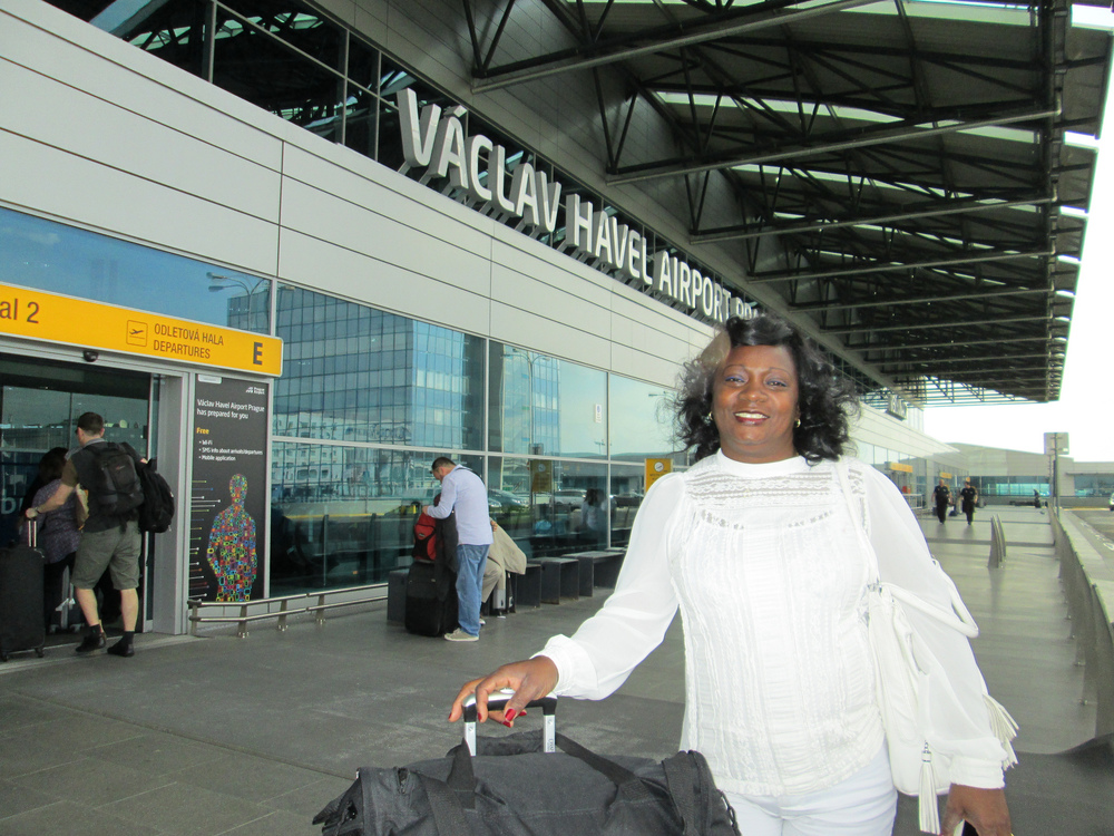 Ladies in White leader Berta Soler (pictured here at Prague's Václav Havel Airport) was detained by Cuban authorities and only released just before she was scheduled to meet with Barack Obama during his visit to Havana.  (photo:  People In Need Cuba )