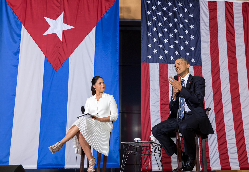 Barack Obama and Soledad O'Brien during a Q&A session on entrepreneurship in Havana  (Photo:  IIP Photo Archive )