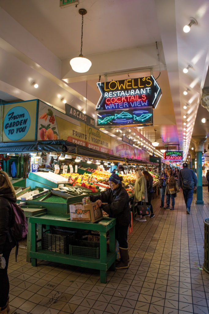 loads of fresh fish and produce at the Pike Place Public Market